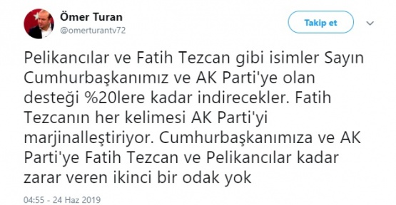 Ömer Turan, Seçimin Biletini Fatih Tezcan ve Pelikancılara Kesti