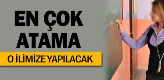 Öğretmen Ataması en çok  Gaziantep'e