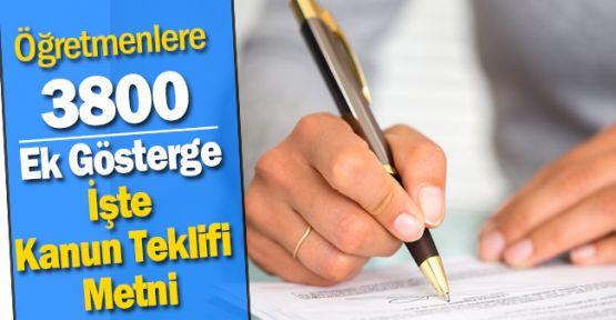 Öğretmenlere 3600 ek Gösterge Meclise Sunuldu mu